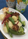 スナップえんどうとチキンの香味焼き 199円(税抜)