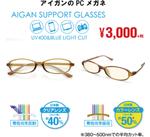 アイガンの度なしPCメガネ 3,000円(税抜)