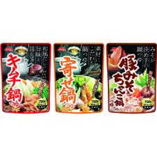 ストレート鍋つゆ(キムチ鍋・寄せ鍋・豚みそちゃんこ鍋) 148円(税抜)