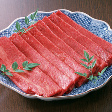 交雑牛ももしゃぶしゃぶ用、ステーキ用各種 498円(税抜)