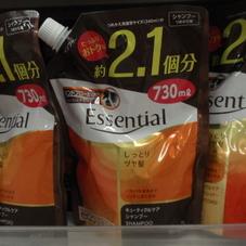 エッセンシャルしっとりツヤ髪詰替2.1回分中スパウトパウチ 各種 554円(税抜)