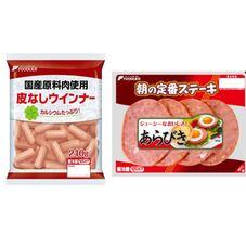 国産豚肉使用皮なしウインナー・朝の定番ステーキ 167円(税抜)