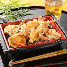 季節野菜と海老の天重 498円