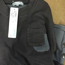 長袖 切替しポケット付きボーダーシャツ 899円(税抜)