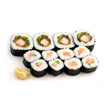 【寿司】海苔巻盛合せ(ヒレカツ太巻き・ねぎとろ・サーモン中巻) 345円(税抜)