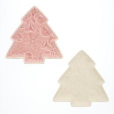 クリスマスツリープレート (ピンク、ホワイト) 300円(税抜)