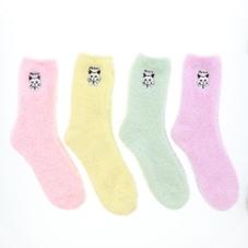 アニマル刺繍モールクルーソックス(ネコ) 300円(税抜)