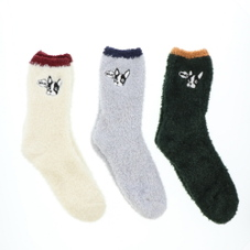 アニマル刺繍モールクルーソックス(ブル) 300円(税抜)