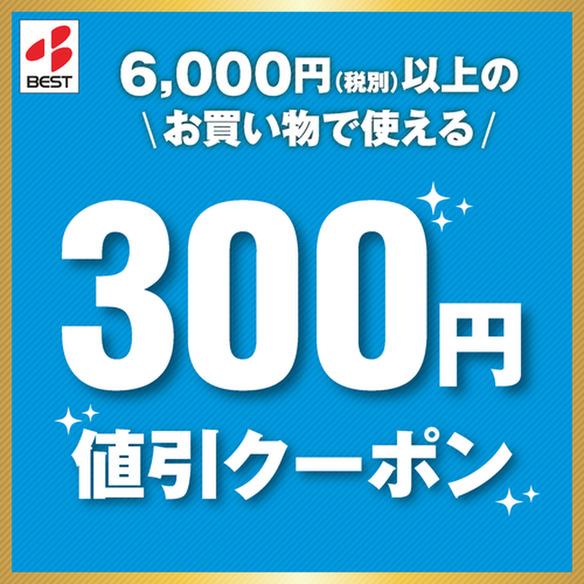 """6,000円(税別)以上のお買物で使えるクーポン! <span class=""""discount""""><span class=""""discount_digit"""">300</span>円引</span> ※店頭価格より"""