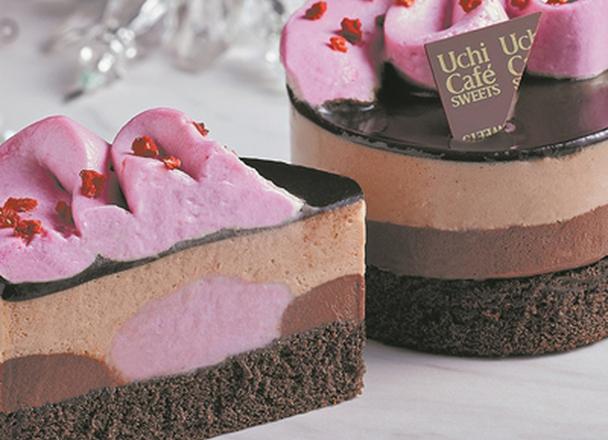 ルビーチョコレートのショコラケーキ 330円
