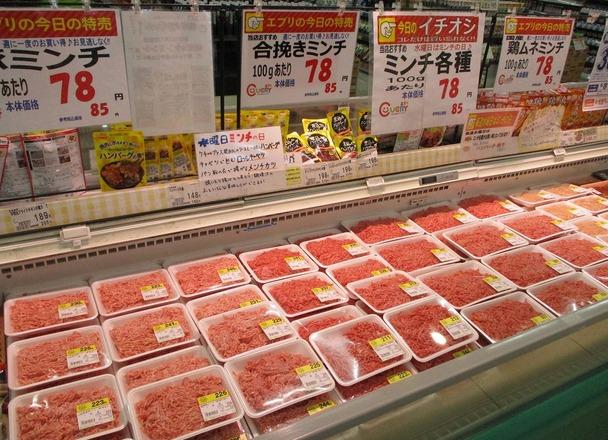 ミンチ各種(合挽、豚、鶏むね) 85円(税込)