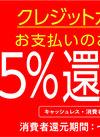 クレジット・電子マネーの支払いで5%還元中!