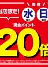 毎週水・日曜日は現金ポイント20倍!!!!