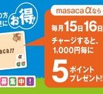 <macacaα 毎月15日・16日・17日チャージ特典>