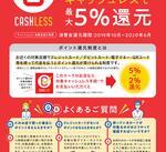 当店でキャッシュレス決済をすると5%のポイント還元!