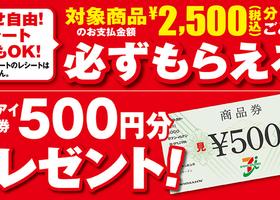 必ずもらえる! 商品券500円分プレゼント!