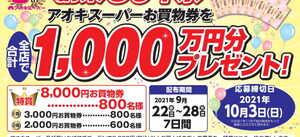 ★創業80年特別企画★全店で総額1,000万円分が当たる!